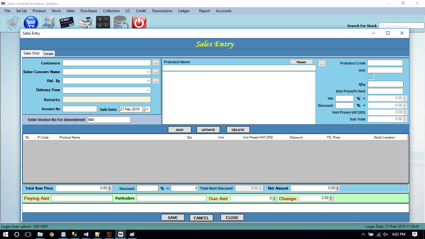 Auto Parts Sales with Accounting Software